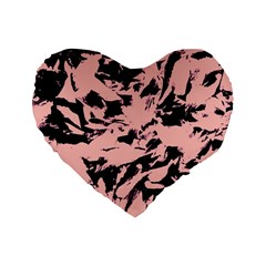 Old Rose Black Abstract Military Camouflage Standard 16  Premium Flano Heart Shape Cushions by Costasonlineshop