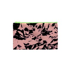Old Rose Black Abstract Military Camouflage Cosmetic Bag (xs) by Costasonlineshop
