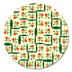 Plants And Flowers Magnet 5  (round) by linceazul