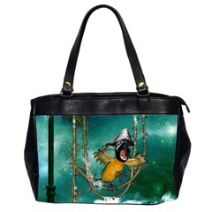 Funny Pirate Parrot With Hat Office Handbags (2 Sides)  by FantasyWorld7