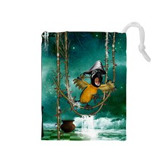 Funny Pirate Parrot With Hat Drawstring Pouches (medium)  by FantasyWorld7