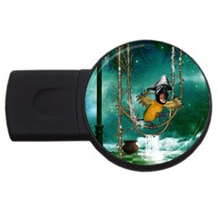 Funny Pirate Parrot With Hat Usb Flash Drive Round (4 Gb) by FantasyWorld7
