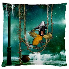Funny Pirate Parrot With Hat Standard Flano Cushion Case (one Side) by FantasyWorld7