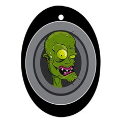 Zombie Pictured Illustration Oval Ornament (two Sides) by Onesevenart