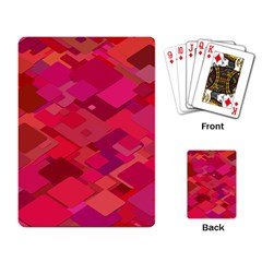 Red Background Pattern Square Playing Card by Onesevenart