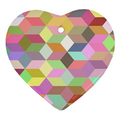 Mosaic Background Cube Pattern Ornament (heart) by Onesevenart