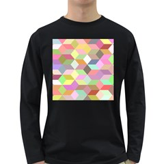 Mosaic Background Cube Pattern Long Sleeve Dark T Shirts by Onesevenart