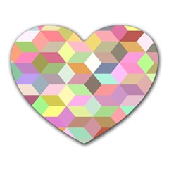 Mosaic Background Cube Pattern Heart Mousepads by Onesevenart