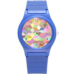 Mosaic Background Cube Pattern Round Plastic Sport Watch (s) by Onesevenart