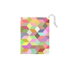 Mosaic Background Cube Pattern Drawstring Pouches (xs)  by Onesevenart