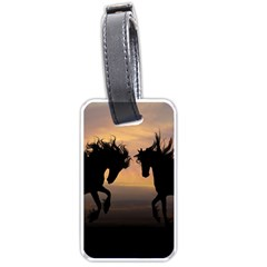 Horses Sunset Photoshop Graphics Luggage Tags (two Sides) by Onesevenart