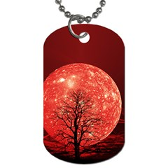 The Background Red Moon Wallpaper Dog Tag (two Sides) by Onesevenart