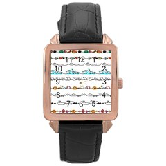 Decoration Element Style Pattern Rose Gold Leather Watch  by Onesevenart