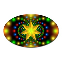 Christmas Star Fractal Symmetry Oval Magnet by Onesevenart