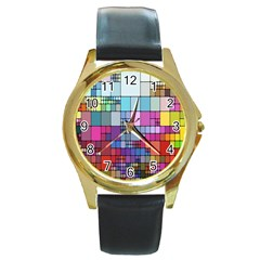Color Abstract Visualization Round Gold Metal Watch by Onesevenart