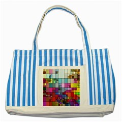 Color Abstract Visualization Striped Blue Tote Bag by Onesevenart