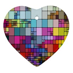 Color Abstract Visualization Heart Ornament (two Sides) by Onesevenart