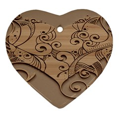 Wood Sculpt Carved Background Heart Ornament (two Sides) by Onesevenart