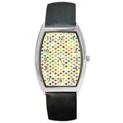 Background Multicolored Star Barrel Style Metal Watch by Onesevenart