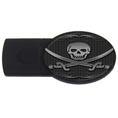Skull Metal Background Carved Usb Flash Drive Oval (2 Gb) by Onesevenart