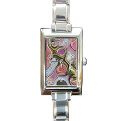 Retro Background Colorful Hippie Rectangle Italian Charm Watch by Onesevenart
