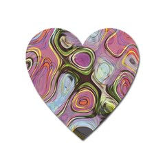 Retro Background Colorful Hippie Heart Magnet by Onesevenart