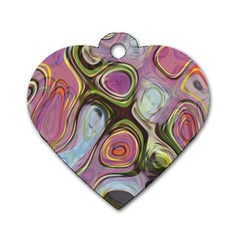 Retro Background Colorful Hippie Dog Tag Heart (one Side) by Onesevenart