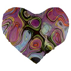 Retro Background Colorful Hippie Large 19  Premium Flano Heart Shape Cushions by Onesevenart