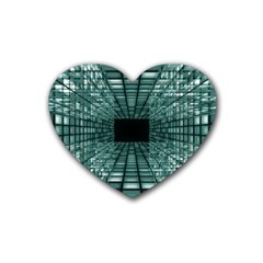 Abstract Perspective Background Rubber Coaster (heart)  by Onesevenart