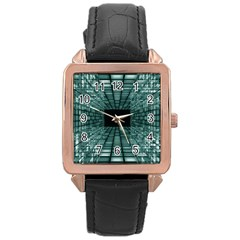 Abstract Perspective Background Rose Gold Leather Watch  by Onesevenart