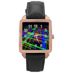 Electronics Board Computer Trace Rose Gold Leather Watch  by Onesevenart