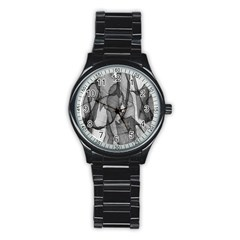 Abstract Black And White Background Stainless Steel Round Watch by Onesevenart