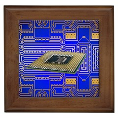 Processor Cpu Board Circuits Framed Tiles by Onesevenart