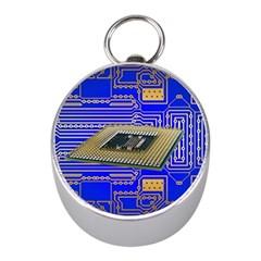 Processor Cpu Board Circuits Mini Silver Compasses by Onesevenart