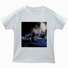 Mountains Moon Earth Space Kids White T Shirts