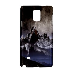 Mountains Moon Earth Space Samsung Galaxy Note 4 Hardshell Case by Onesevenart