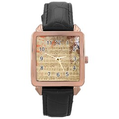 Art Collage Design Colorful Color Rose Gold Leather Watch  by Onesevenart