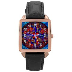 Board Interfaces Digital Global Rose Gold Leather Watch  by Onesevenart