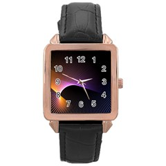 Star Graphic Rays Movement Pattern Rose Gold Leather Watch  by Onesevenart