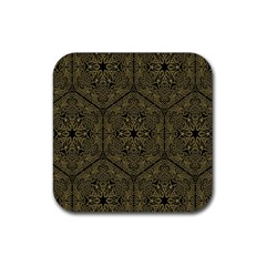 Texture Background Mandala Rubber Square Coaster (4 Pack)  by Onesevenart