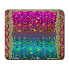 Years Of Peace Living In A Paradise Of Calm And Colors Large Mousepads by pepitasart