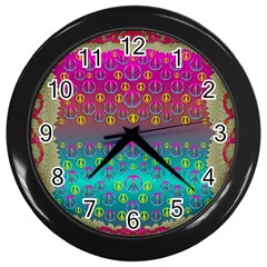 Years Of Peace Living In A Paradise Of Calm And Colors Wall Clocks (black) by pepitasart