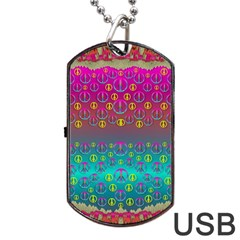 Years Of Peace Living In A Paradise Of Calm And Colors Dog Tag Usb Flash (one Side) by pepitasart