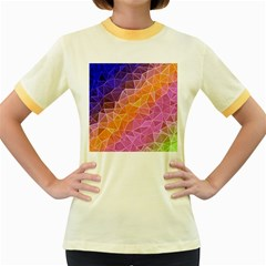 Crystalized Rainbow Women s Fitted Ringer T Shirts