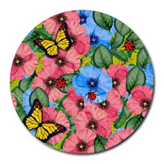 Floral Scene Round Mousepads by linceazul