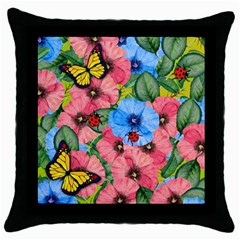 Floral Scene Throw Pillow Case (black) by linceazul
