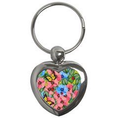 Floral Scene Key Chains (heart)  by linceazul