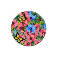 Floral Scene Rubber Coaster (round)  by linceazul