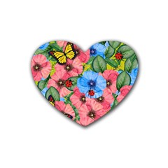 Floral Scene Heart Coaster (4 Pack)  by linceazul