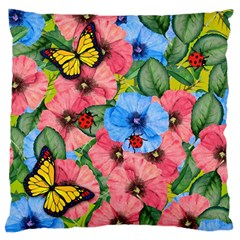 Floral Scene Large Cushion Case (two Sides) by linceazul